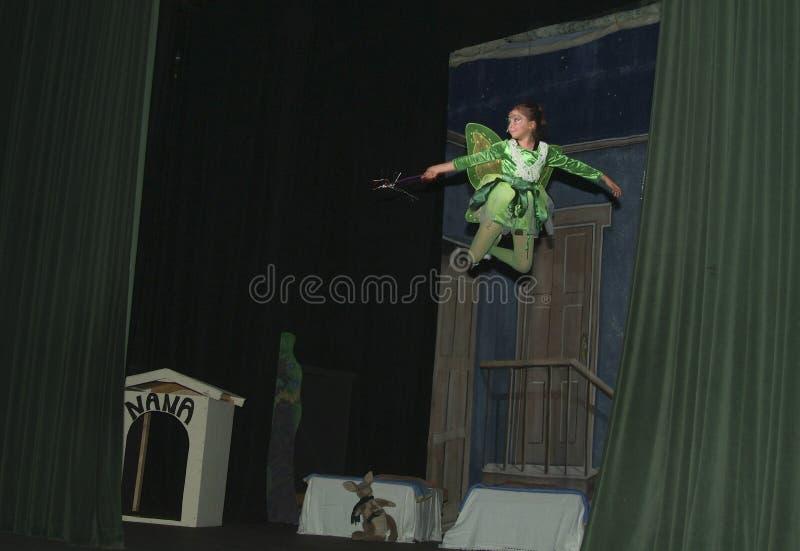 Den tonårs- flickan spelar tinkerbell i en tonårig lek Peter Pan arkivbild