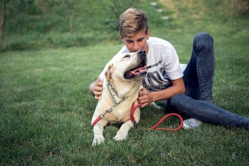 Den tonårs- mannen med labrador spenderar tid på gräset arkivfoton