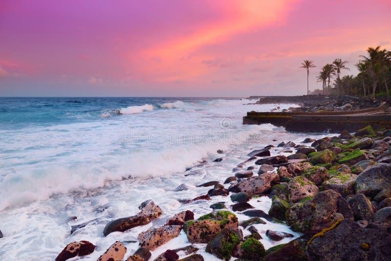 Den tonade härliga rosa färgen vinkar avbrott på en stenig strand på soluppgång på ostkust av den stora ön av Hawaii arkivbilder