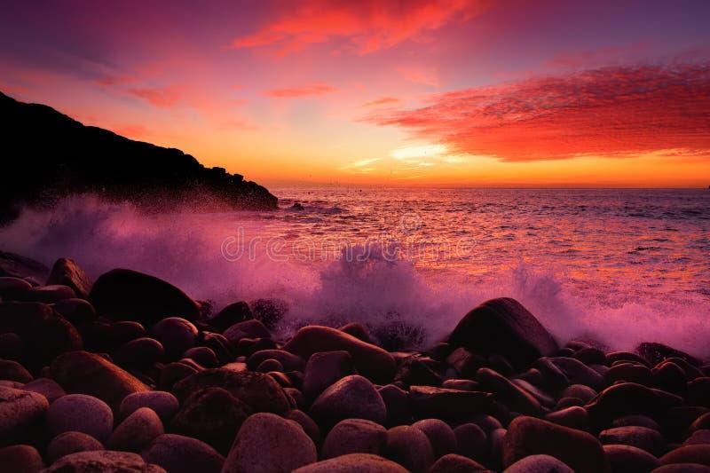 Den tonade lilan vinkar avbrott på en stenig strand på solnedgången över Porth Nanven i kåtadalen av Cornwall, England royaltyfri bild