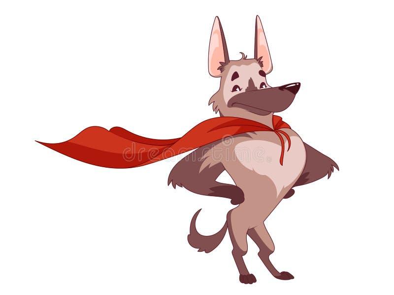 Den toppna hunden med den röda kappan i det heroiskt poserar royaltyfri illustrationer