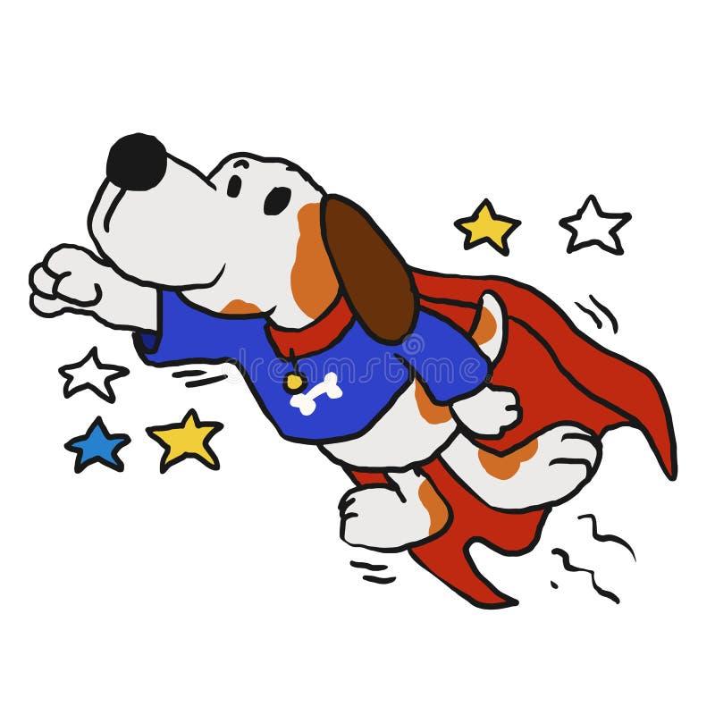 Den toppna hunden med den röda kappan i det heroiskt poserar stock illustrationer