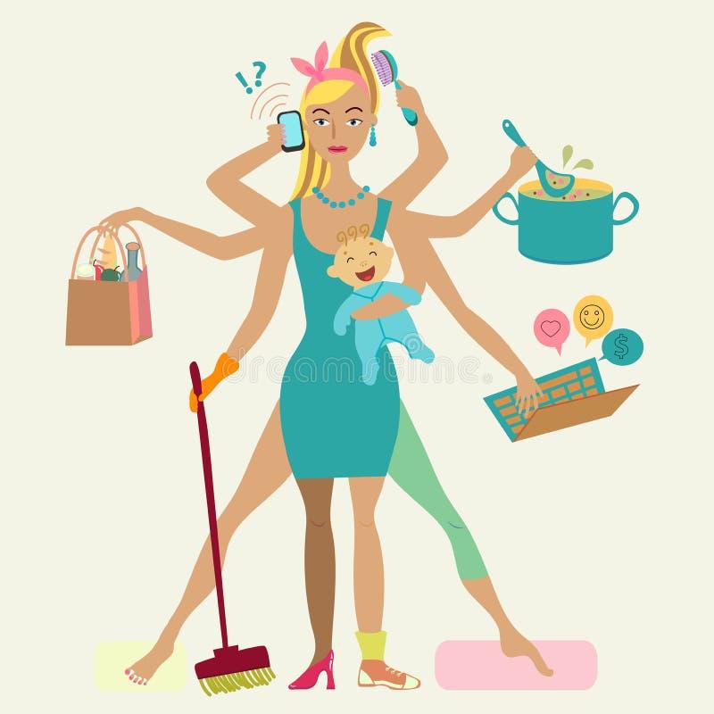 Den toppna modern med nyfött behandla som ett barn stock illustrationer