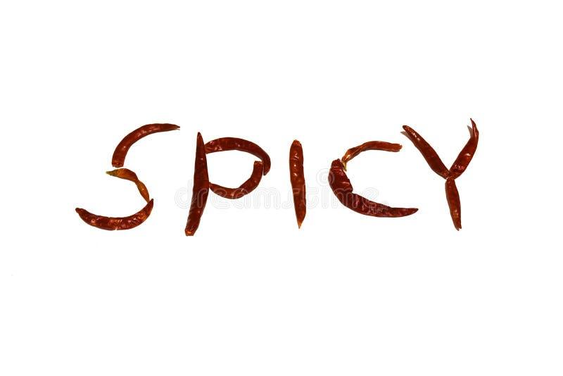 Den torkade röda chili monterar ord arkivbilder