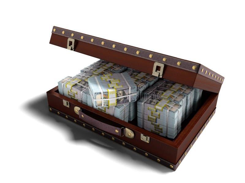 Den träbruna resväskan med pengar 3D framför på vit bakgrund w vektor illustrationer