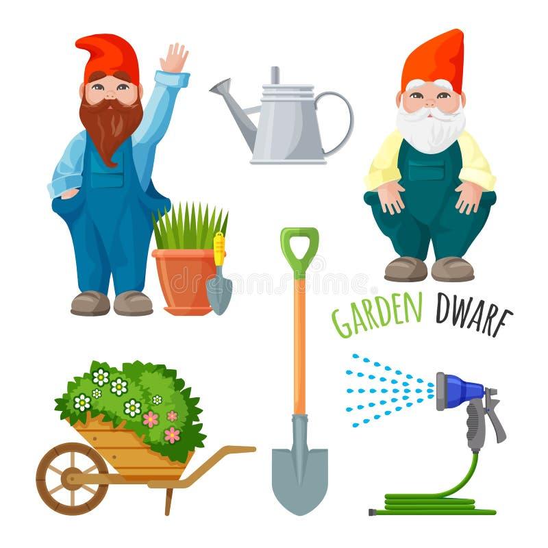 Den trädgårds- dvärgen, funktionsdugliga hjälpmedel för att arbeta i trädgården, metallspaden som bevattnar kan stock illustrationer