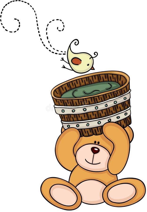 Den tränallebjörnen som rymmer, badar för ett bad och en fågel royaltyfri illustrationer