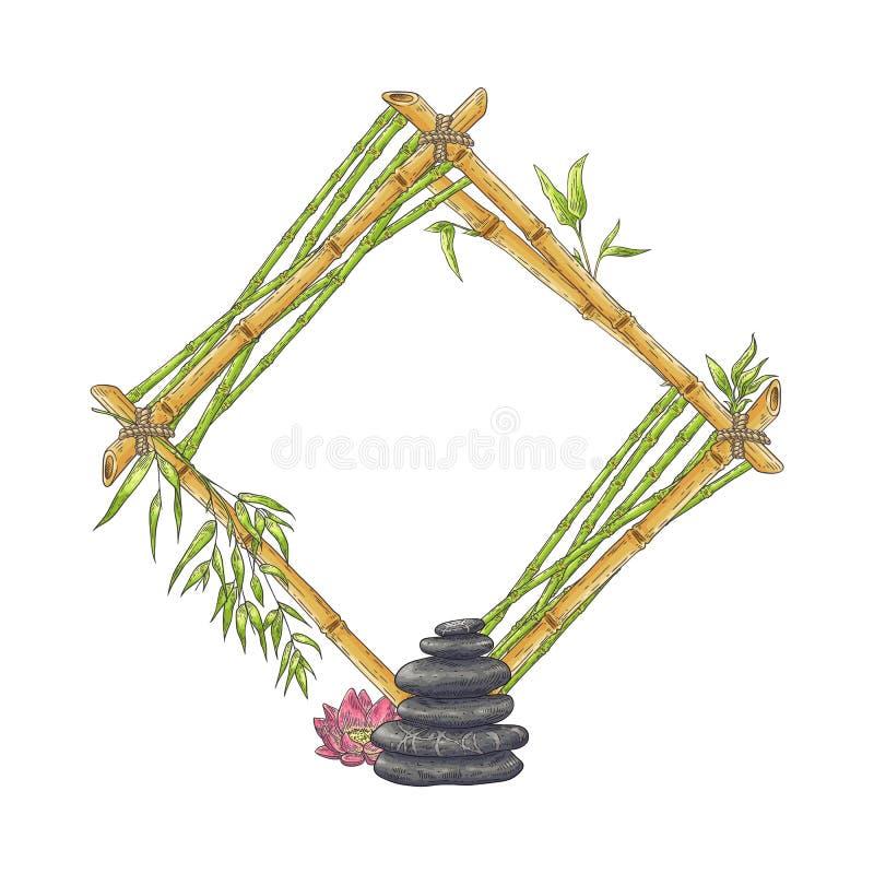 Den trärhombic bamburamen med högen av kiselstenar och blomman skissar stil royaltyfri illustrationer