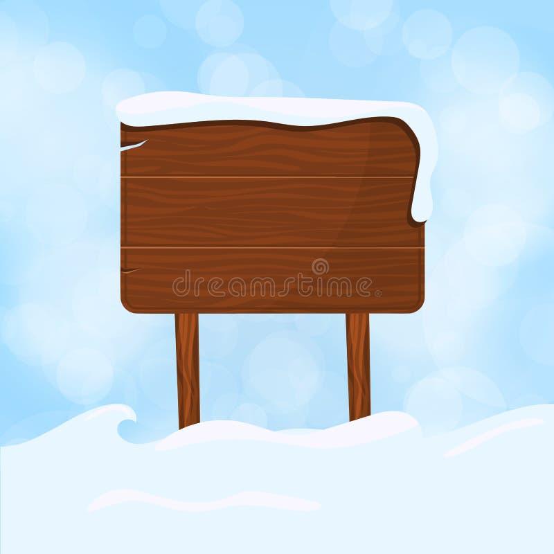 Den träteckenmellanrumsbrädet och vintern snöar med illustrationen för kopieringsutrymmevektorn Snöa det wood teckenbanret  stock illustrationer