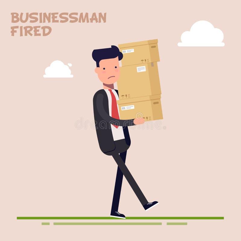 Den trötta affärsmannen eller chefen bär tunga askar Kontorsarbetaren avfyrades Leverans av godor plant tecken royaltyfri illustrationer
