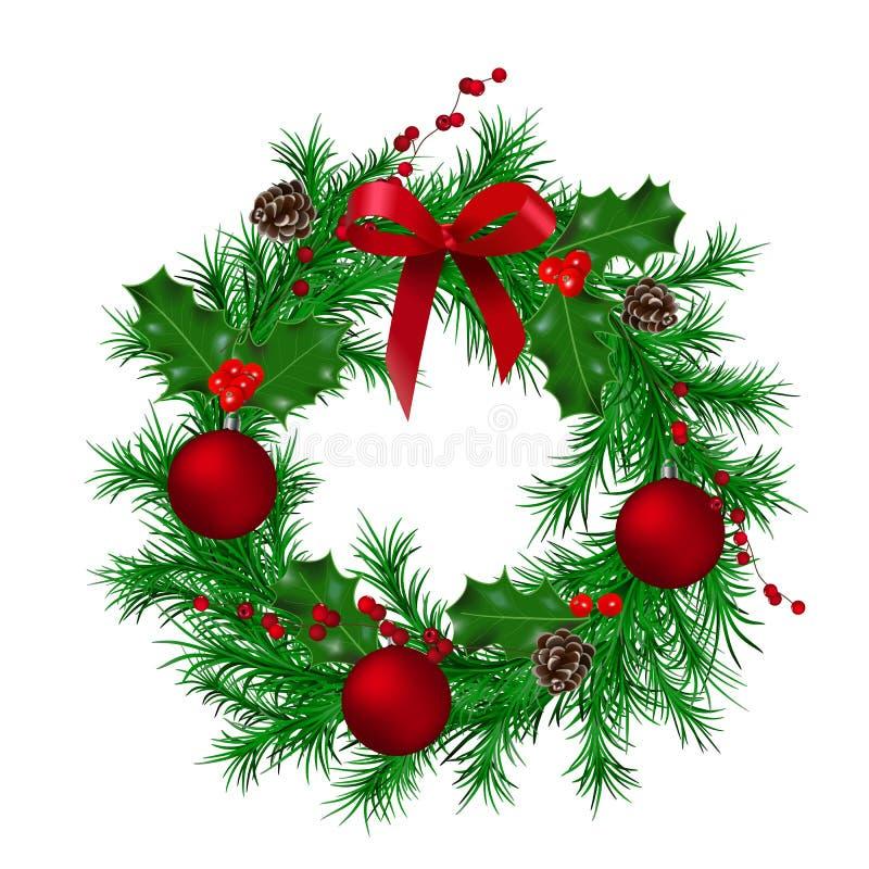 Den traditionella gröna julkransen med kottar, järnekbäret, det röda metalliska bandet, gran, jul klumpa ihop sig vektor illustrationer