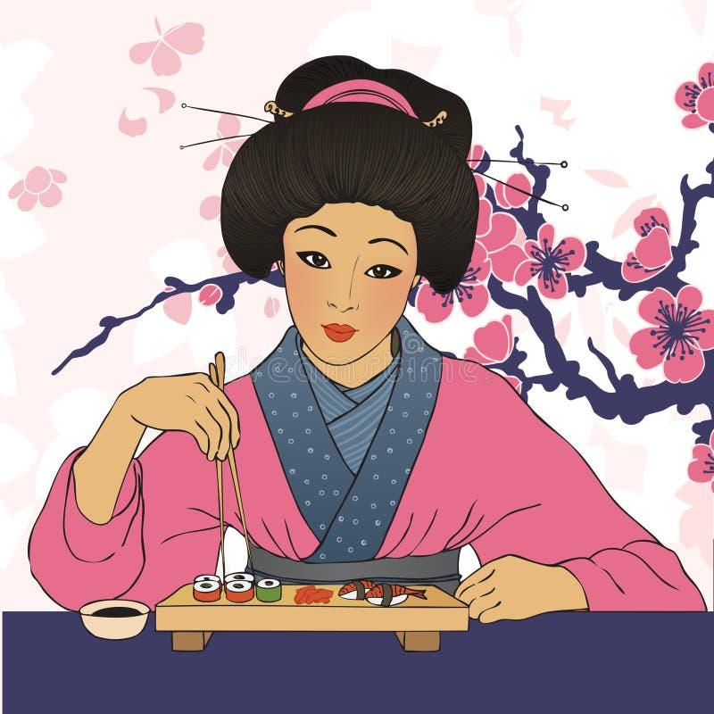Den traditionella japanska nätta flickan tycker om sushi vektor illustrationer