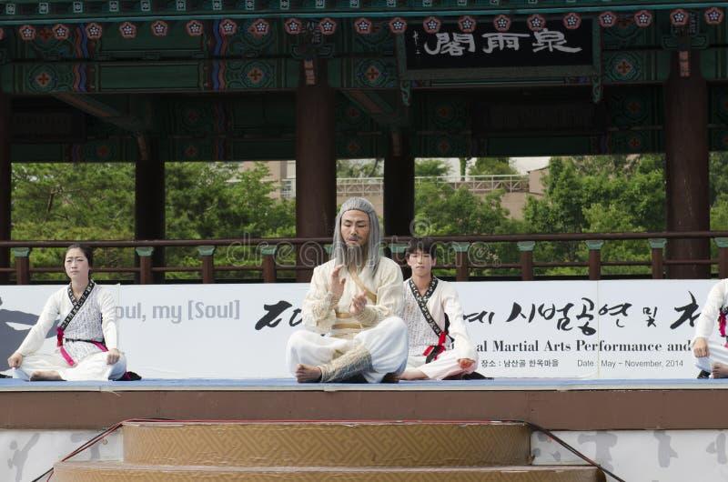 Den traditionella koreanska kampsportkapaciteten och erfarenhetshändelsen visar royaltyfri fotografi