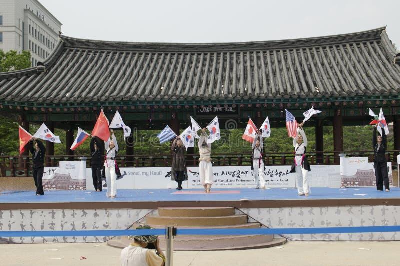 Den traditionella koreanska kampsportkapaciteten och erfarenhetshändelsen visar fotografering för bildbyråer