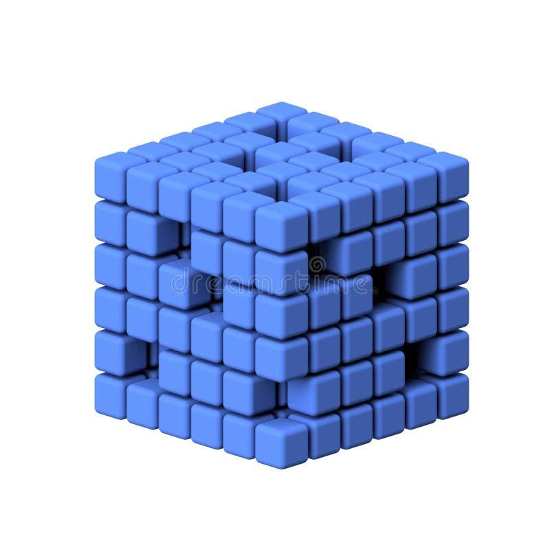 Den tredimensionella kuben framför på vit bakgrund stock illustrationer