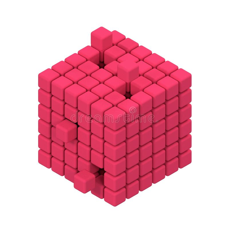 Den tredimensionella kuben framför på vit bakgrund royaltyfri illustrationer