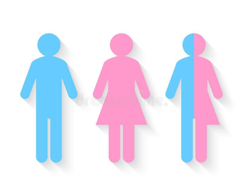 Den tredje genuset och könsbestämmer begrepp royaltyfri illustrationer