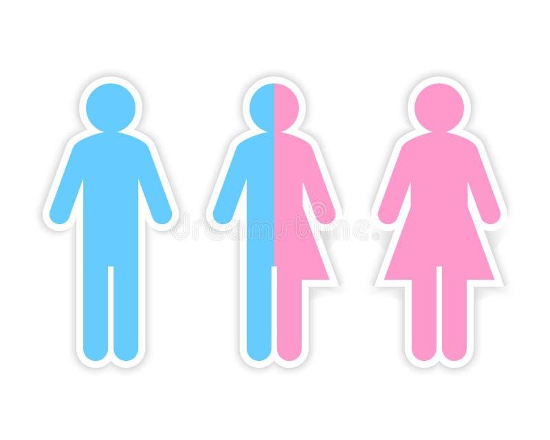 Den tredje genuset och könsbestämmer begreppet som göras av halv man och halv kvinnlig pictogram royaltyfri illustrationer