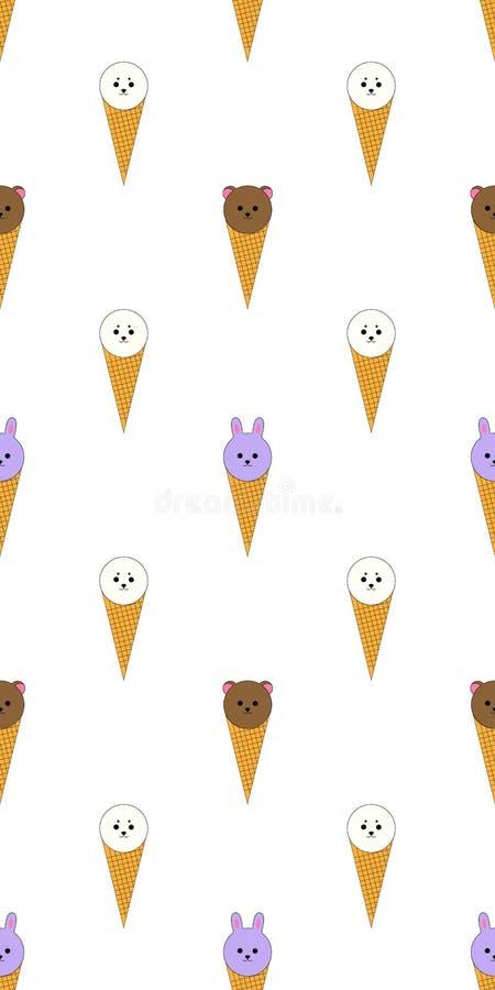 Den trevliga barnsliga sömlösa modellen med söt glass som behandla som ett barn djur - harpaskyddsremsor, kaniner och björnar på  royaltyfri illustrationer