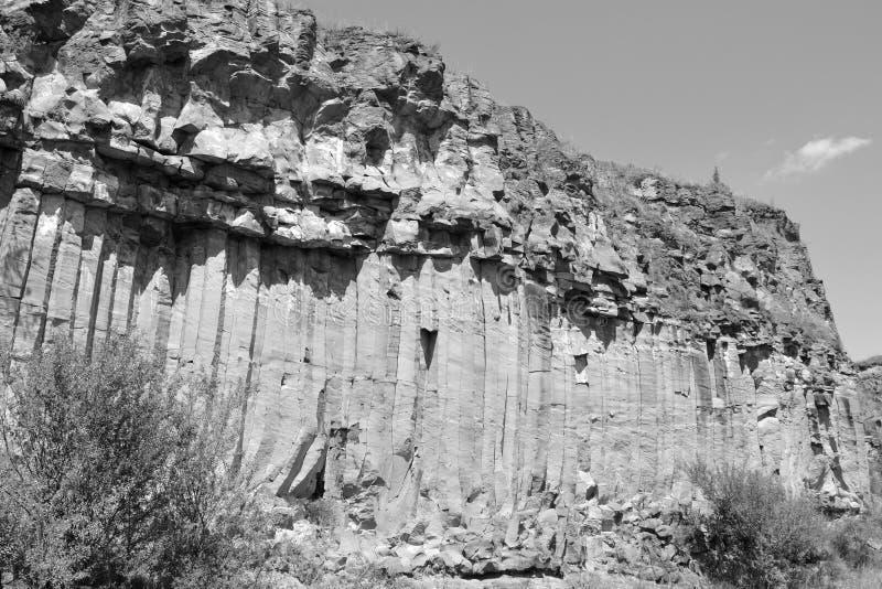 Den trevliga basaltet vaggar kolonnen är vulkanisk vaggar utlöpare i form av den columnar basaltet som lokaliseras i Racos, Rumän royaltyfria bilder