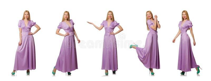 Den trevliga kvinnan i modekläder - sammansatt bild arkivfoton