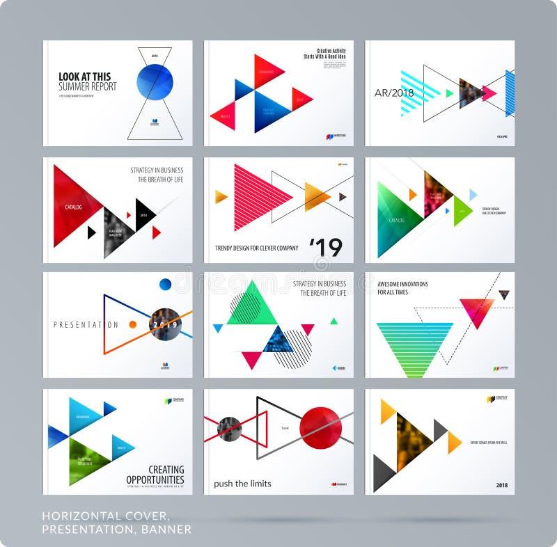 Den triangulära designpresentationsmallen med färgglade trianglar skuggar Abstrakt vektoruppsättning av modernt horisontal stock illustrationer