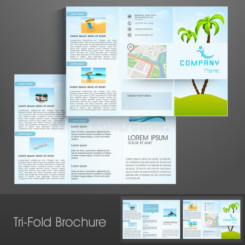 Den trifold reklamblad-, broschyr- eller malldesignen för turnerar och resor royaltyfri illustrationer