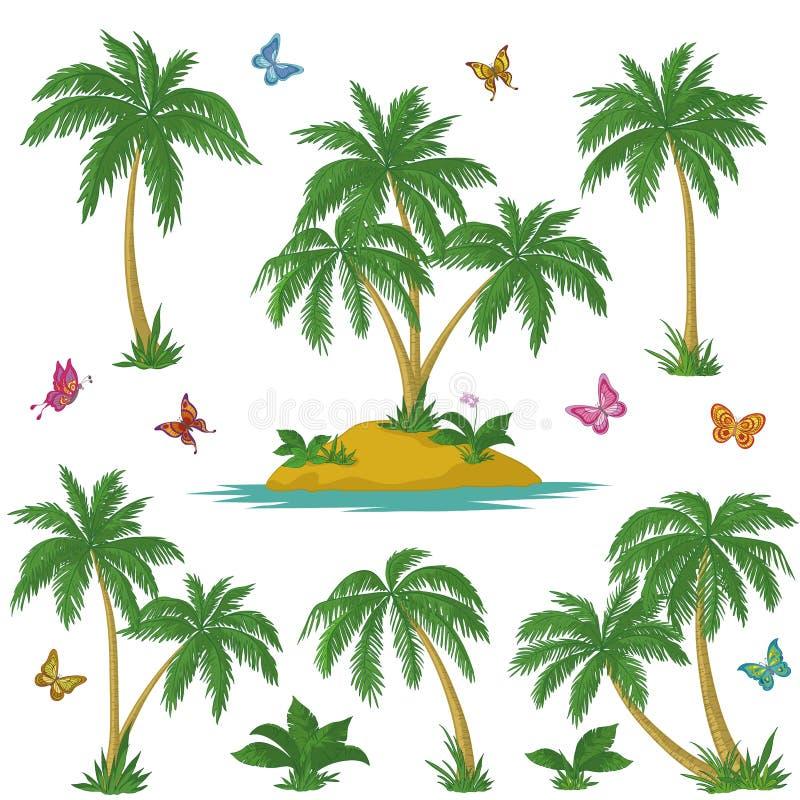 Den tropiska ön, gömma i handflatan och fjärilar vektor illustrationer