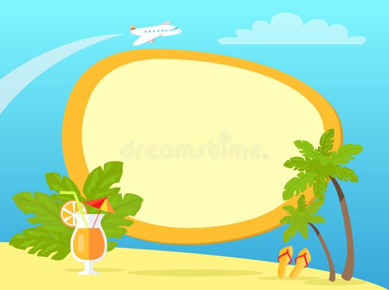 Den tropiska ön med gömma i handflatan och gula Flip Flops vektor illustrationer