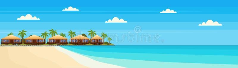 Den tropiska ön med villabungalowhotellet på strandsjösidagräsplan gömma i handflatan det horisontalbegreppet för landskapsommars stock illustrationer