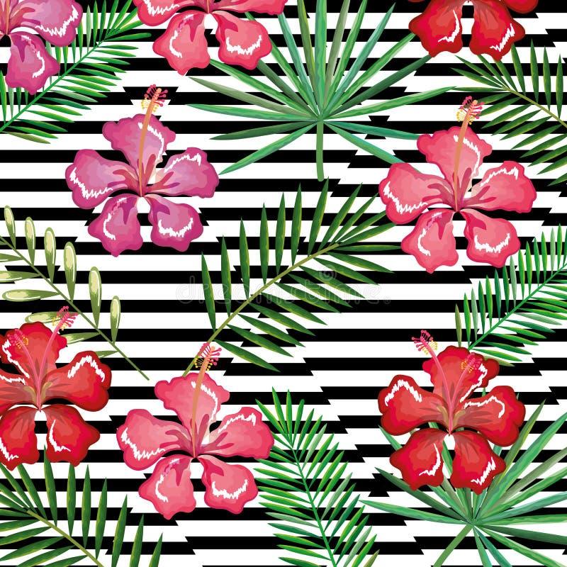 Den tropiska blomman med den skrivbords- datoren för abstrakt bakgrund isolerade symbolen vektor illustrationer