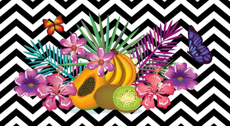 Den tropiska blomman och frukter med den skrivbords- datoren för abstrakt bakgrund isolerade symbolen royaltyfri illustrationer