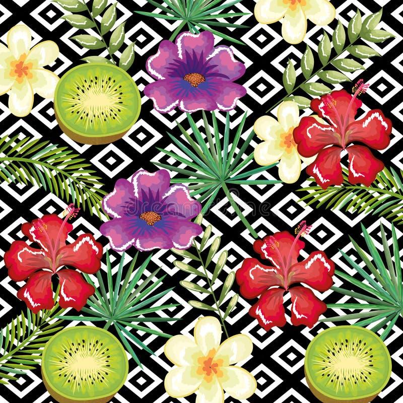 Den tropiska blomman och kiwin med den skrivbords- datoren för abstrakt bakgrund isolerade symbolen vektor illustrationer
