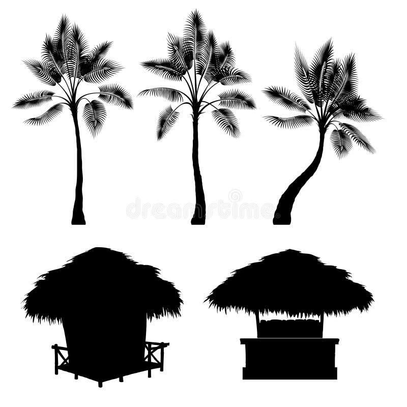 Den tropiska bungalowen och gömma i handflatan, vektoruppsättningen stock illustrationer