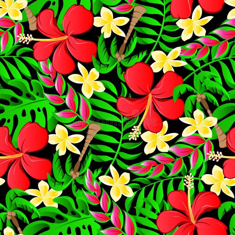 Den tropiska frangipanien gömma i handflatan, och hibiskusen blommar den sömlösa modellen royaltyfri illustrationer