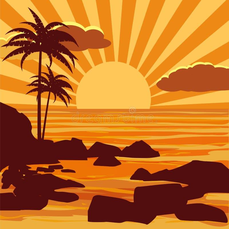 Den tropiska härliga solnedgången, landskap, gömma i handflatan, havet, stenar, vektorn, tecknad filmstil, den isolerade illustra royaltyfri illustrationer