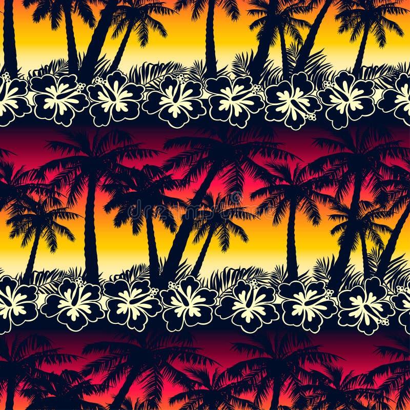 Den tropiska palmträdet på solnedgången med hibiskusen blommar sömlös patt royaltyfri illustrationer