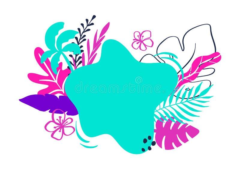 Den tropiska samlingen för exotiska sidor för sommarstrandparti, ananas, gömma i handflatan, frukter och stället för text f?r des vektor illustrationer