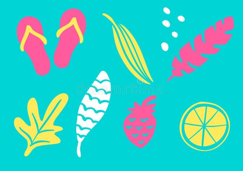 Den tropiska samlingen för exotiska sidor för sommarstrandparti, ananas, gömma i handflatan och bär frukt Isolerade best?ndsdelar stock illustrationer