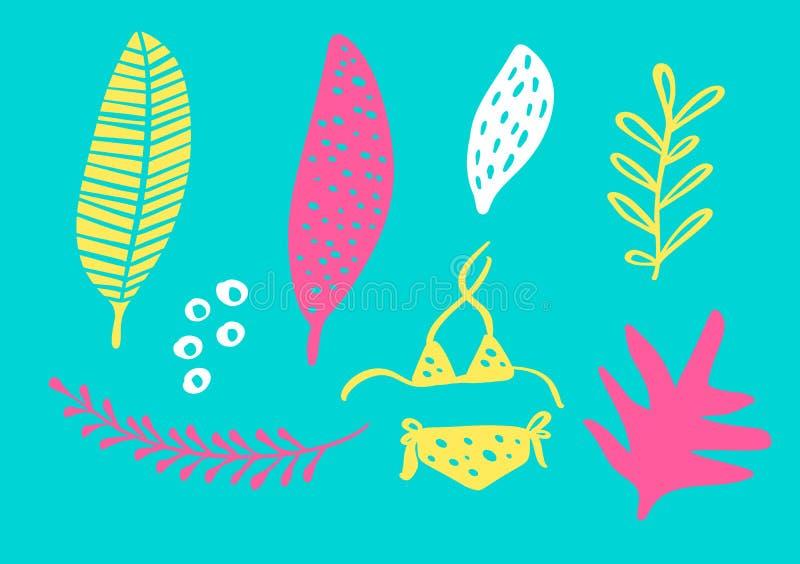 Den tropiska samlingen för exotiska sidor för sommarstrandparti, ananas, gömma i handflatan och bär frukt Isolerade best?ndsdelar vektor illustrationer