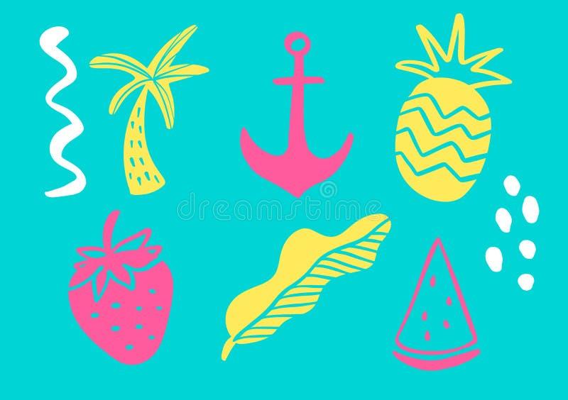 Den tropiska samlingen för exotiska sidor för sommarstrandparti, ananas, gömma i handflatan och bär frukt Isolerade best?ndsdelar royaltyfri illustrationer