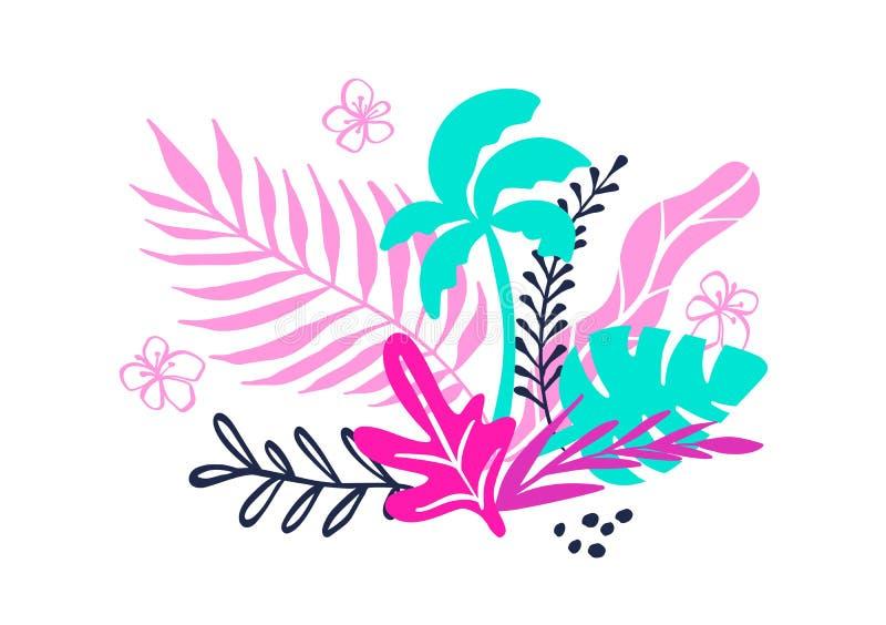 Den tropiska samlingen för exotiska sidor för sommarstrandparti, gömma i handflatan och bär frukt Vektordesignen isolerade bestån vektor illustrationer