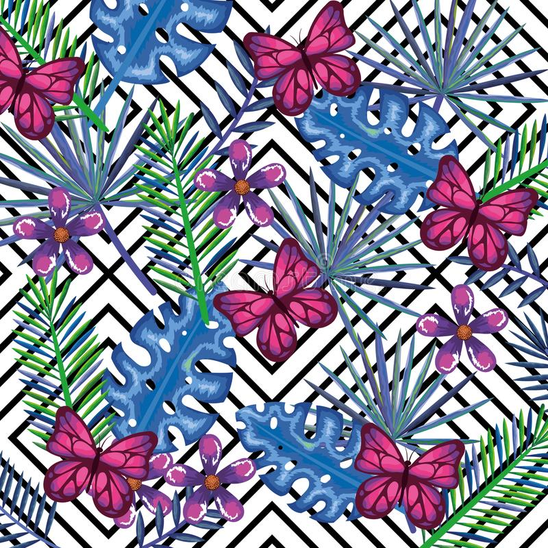 Den tropiska trädgården med fjärilar över den skrivbords- datoren för abstrakt bakgrund isolerade symbolen stock illustrationer