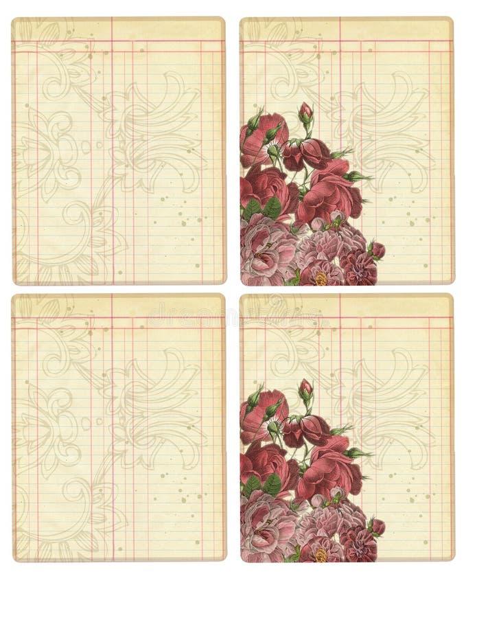Den tryckbara tidskriften Cards - brytningen för tidskriften för etiketten för huvudbokstil den tryckbara - tryckbara tappningros royaltyfri illustrationer