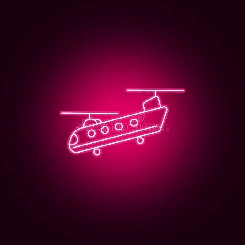 den tunga militära transporthelikoptern levererar lastneonsymbolen Best?ndsdelar av transportupps?ttningen Enkel symbol f?r websi vektor illustrationer