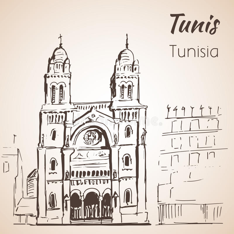 Den Tunis domkyrkan skissar royaltyfri illustrationer
