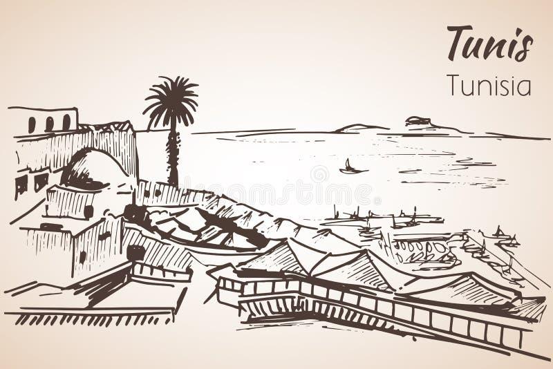Den Tunisien kustlinjesemesterorten skissar stock illustrationer