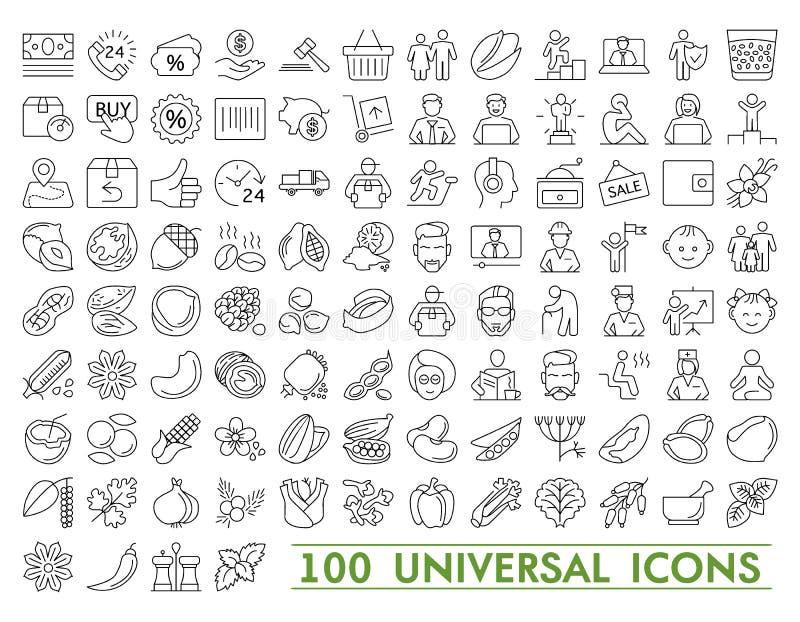 Den tunna linjen exklusiv XXL symbolsuppsättning för symboler innehåller: universell manöverenhet, navigering, folk, rengöringsdu stock illustrationer
