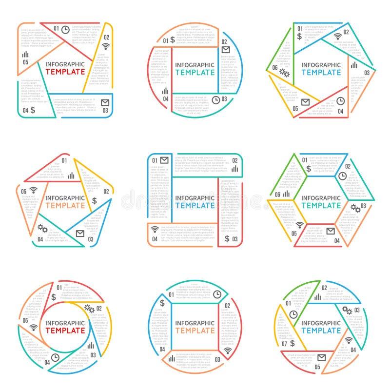 Den tunna linjen infographicsvektorbeståndsdelar för affärspresentationen med alternativdelar kliver och processar royaltyfri illustrationer