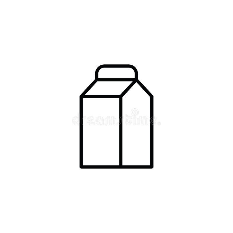 Den tunna linjen mjölkar symbolen på vit bakgrund stock illustrationer